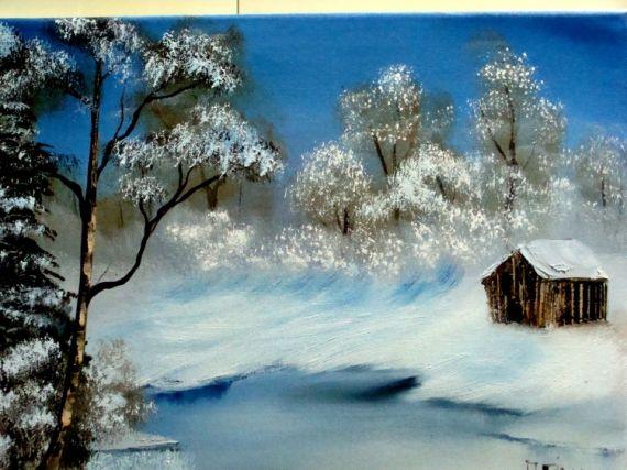 tableau peinture à l'huile paysage d'hiver - Recherche Google