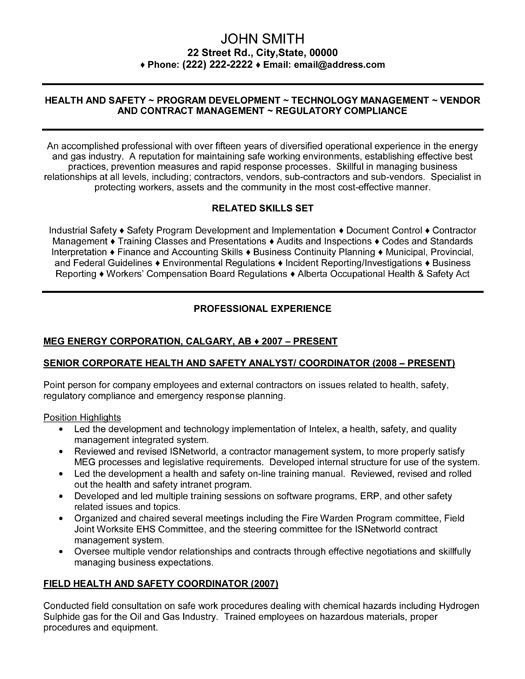 Senior Health and Safety Analyst Resume Template Premium Resume - environmental health officer sample resume