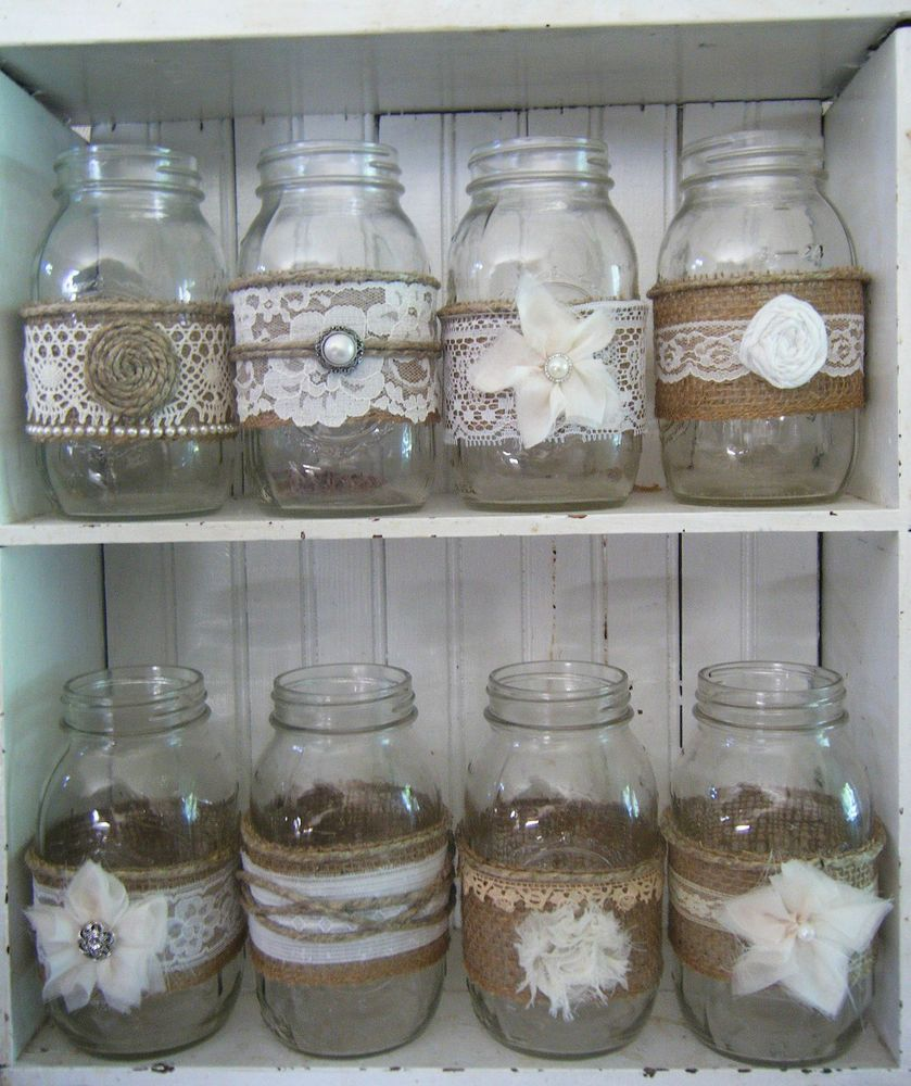 Mason Jars Decorated With Burlap And Lace Flisol Home