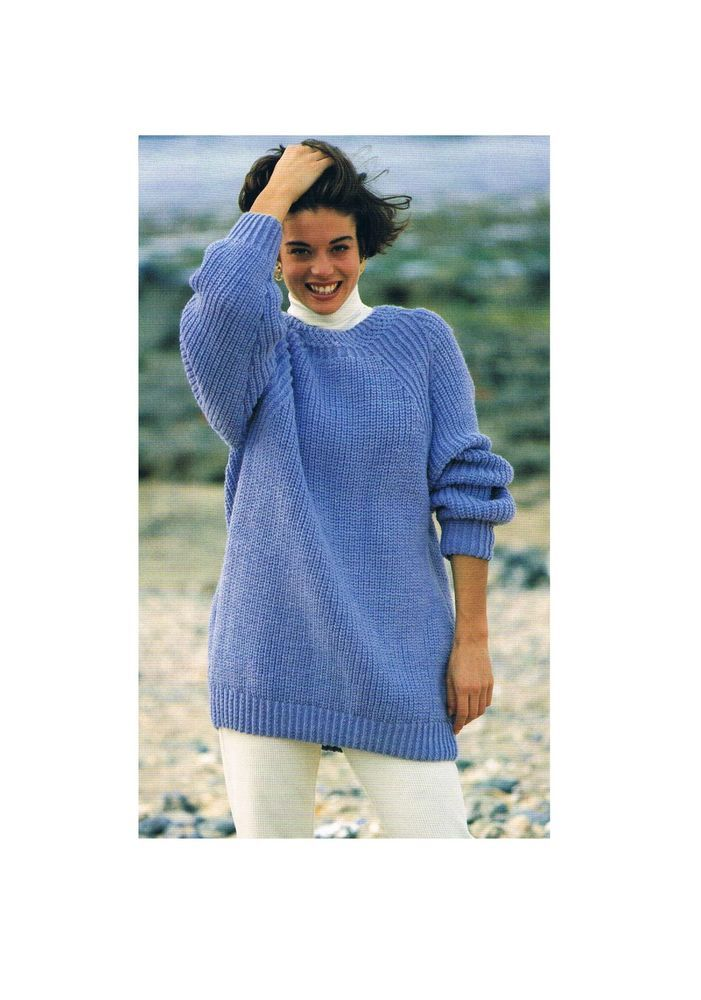 Ladies Aran Sloppy Joe Sweater/Jumper-Knitting Pattern PATTERN ONLY ...