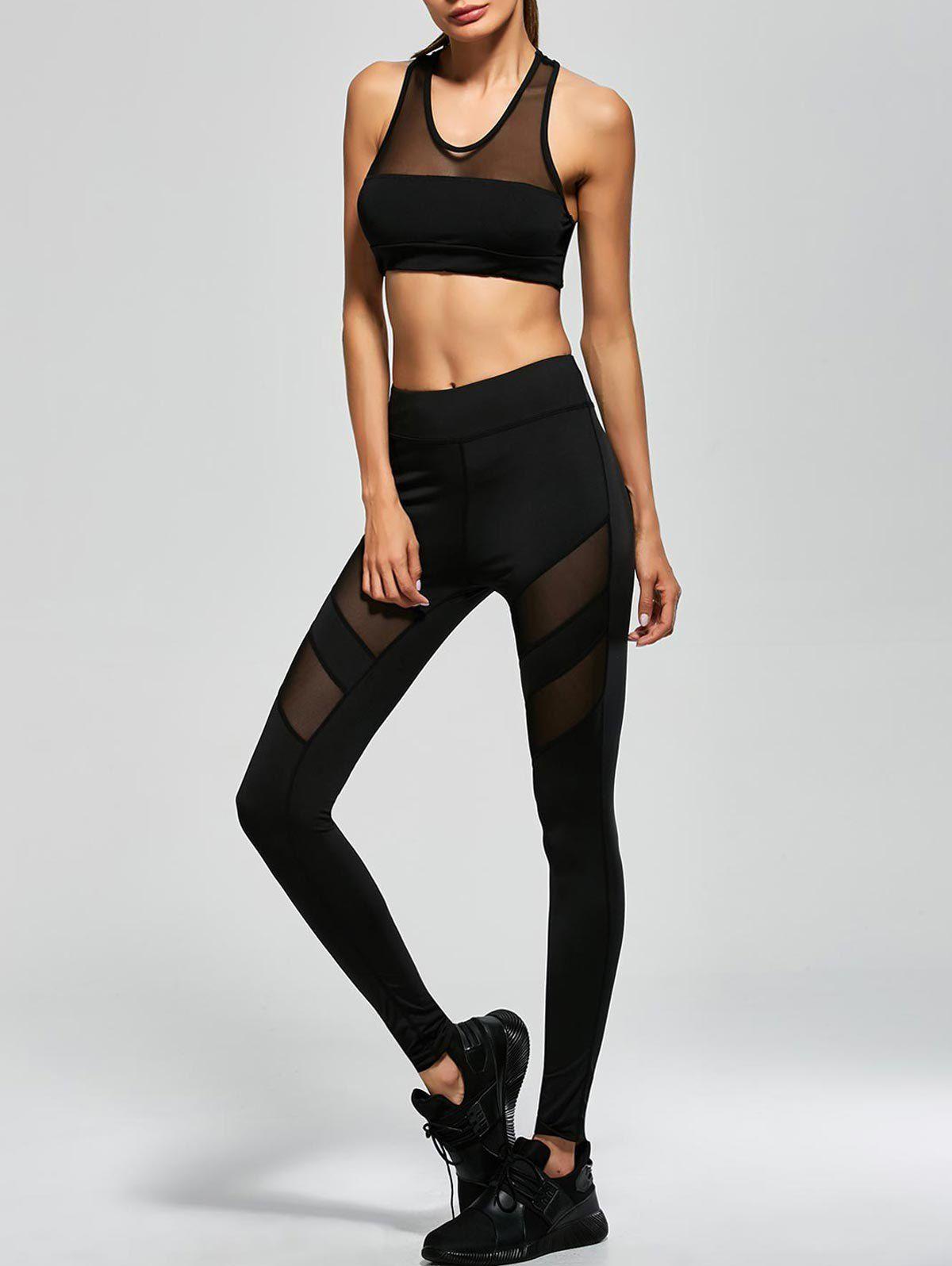 dacc3a34885b $25.49 Mesh Panel Tank Top And Stretch Pants Yoga Suit BLACK: Gym Sets |  ZAFUL