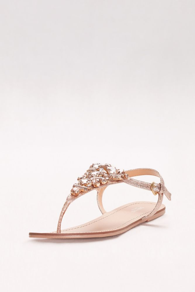 c6059f2171a8 Jeweled Metallic Ankle-Strap Thong Sandals - Rose Gold