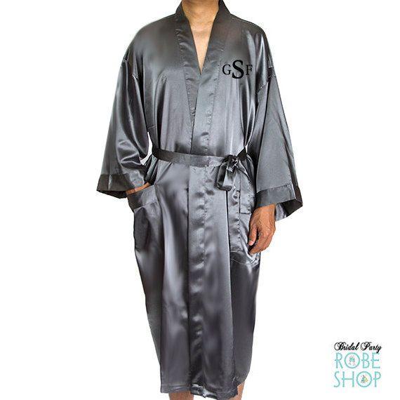 acd389cdbb Mens Embroidered Satin Robe