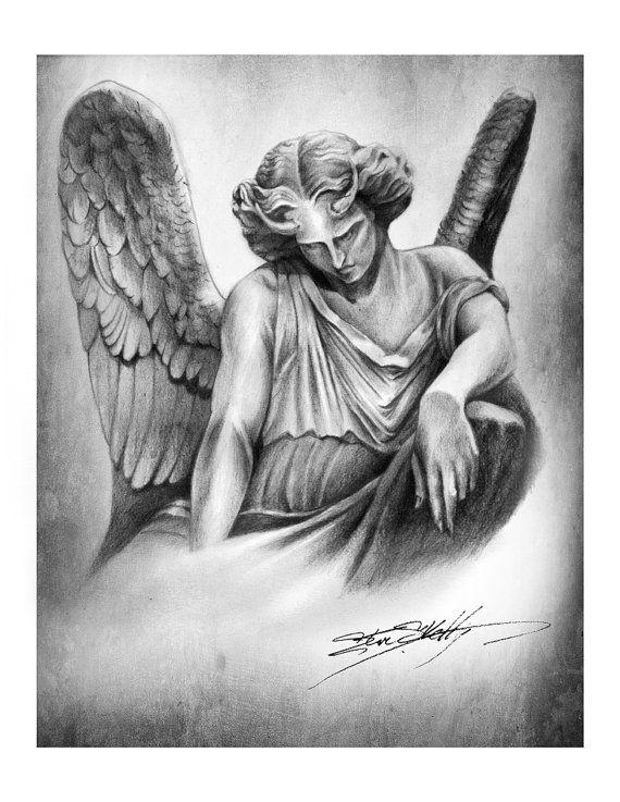 Fallen angel pencil drawing art print by steve by steveskellyart