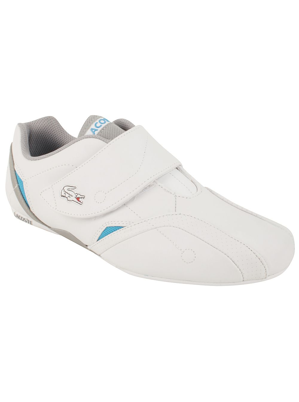 Lacoste Men's Protect Pit Wja in White/Grey Step up any casual look with this Protect Pit model. It still boasts it's sleek laceless design, but in sleek contrast of White and Grey. The inside is meshed lined for extra comfort, plus a real cushy sole for ultimate support. Start your day in a flash with its easy on and off design!