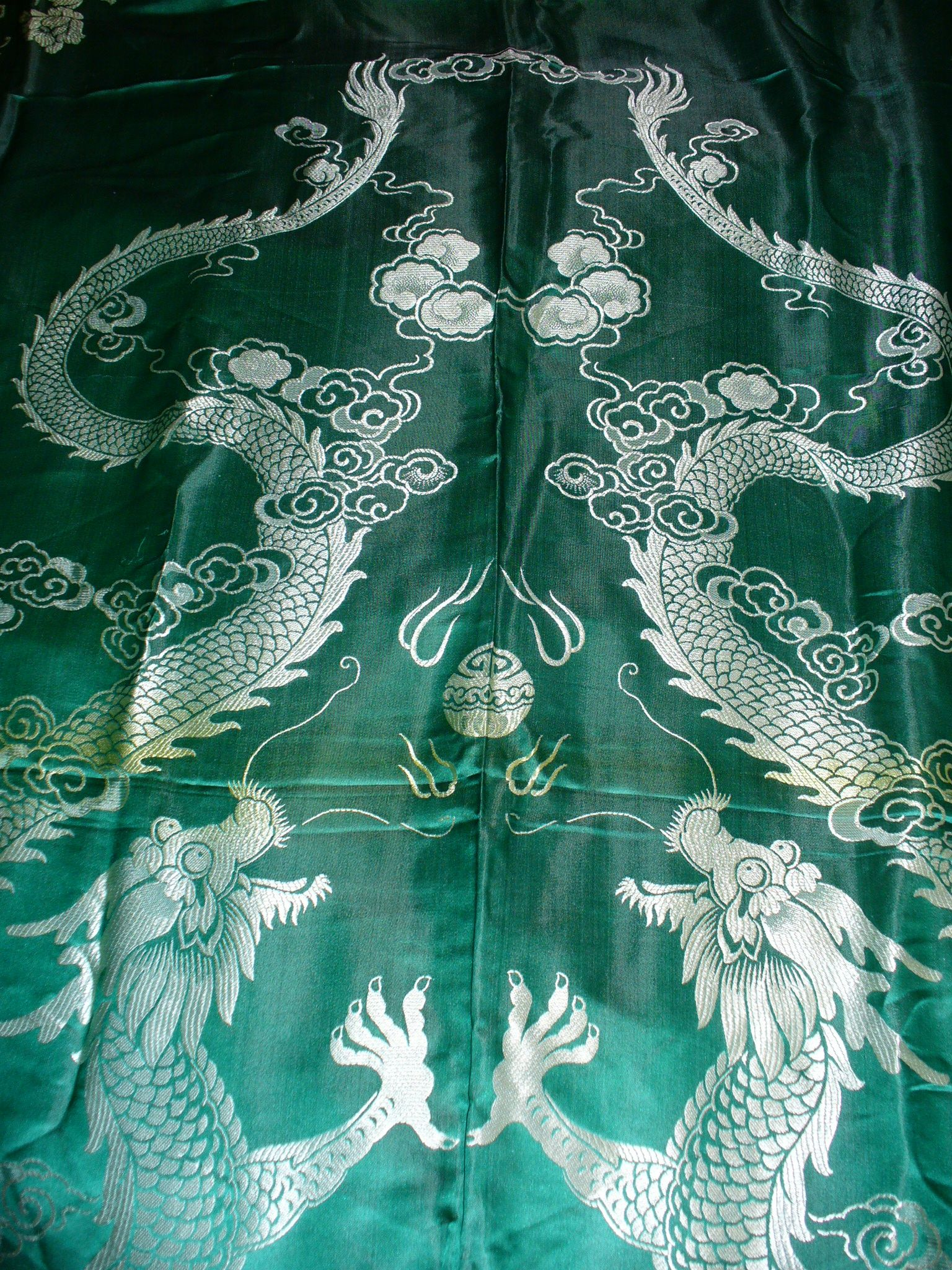 I have this wonderful antique Chinese emerald green damask