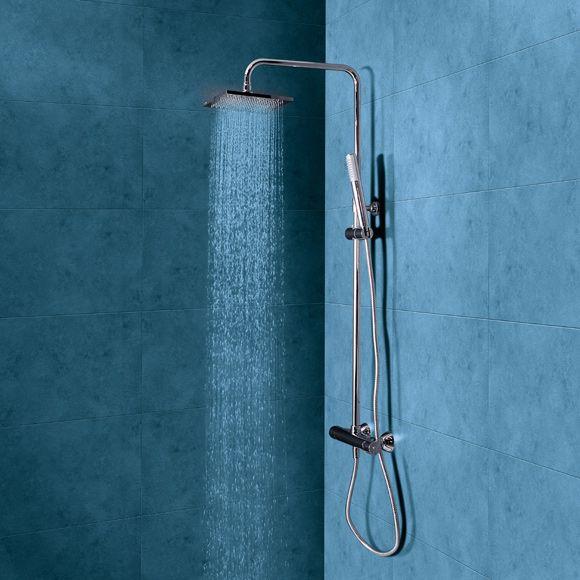 Conjunto de ducha con grifo termost tico star rain ref for Griferia ducha leroy merlin