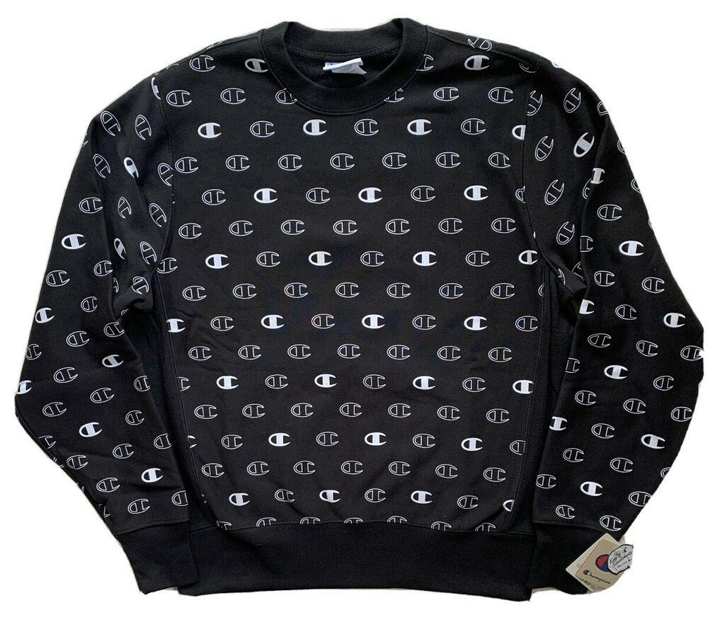 Champion Life Mens Reverse Weave All Over Big C Logo Crew Sweatshirt Black Nwt Champion Sweatshirts Black Sweatshirts Crew Sweatshirts [ 903 x 1000 Pixel ]