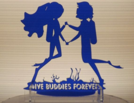 Underwater Wedding Cake Topper With Scuba Divers By TheCelticLaser