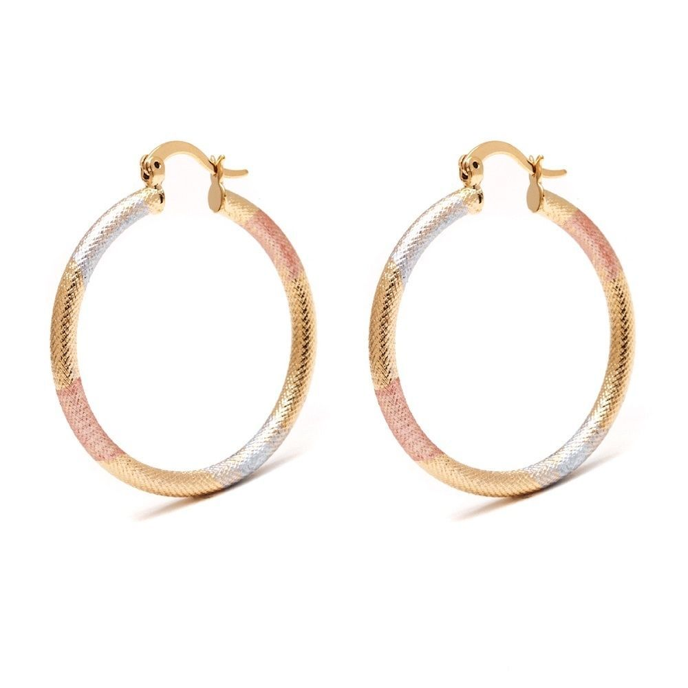 Peermont Jewelry 18k Goldplated Gold, Rose Gold, and Silver 35-millimeter Textured Hoop Earrings