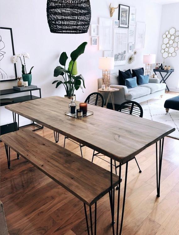 Mesa de comedor de madera y metal recuperada   Etsy