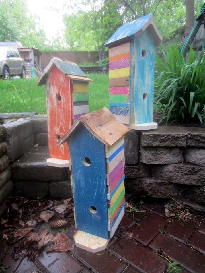 Pallet Birdhouses for Garden Decor - 40+ Dreamy Pallet Ideas to Reuse old Pallets | 99 Pallets