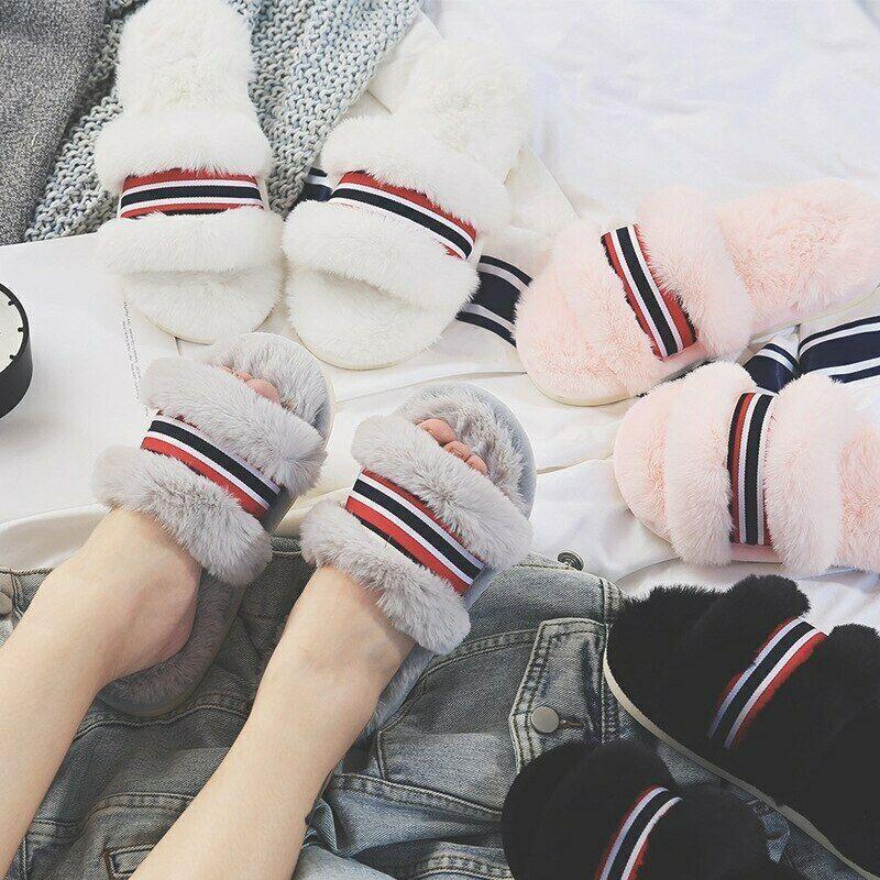 New Winter Warm House Slippers Soft Women Plush Home Non