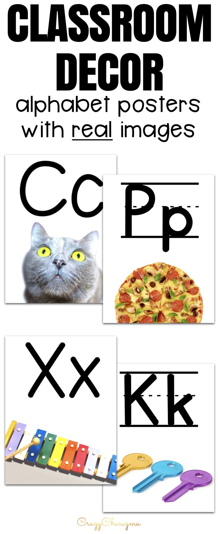 Alphabet Posters with Pictures Alphabet Word Wall Alphabet