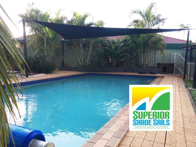 Shade Sails Brisbane- Pool sun shade in 330gsm black ...