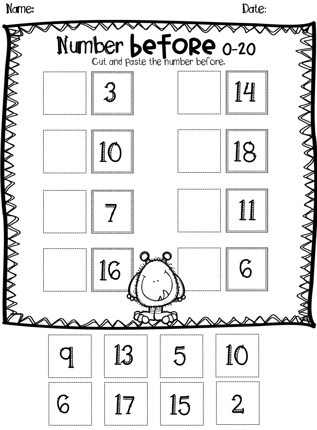 For Ordering Numbers 100 Kindergarten Worksheet