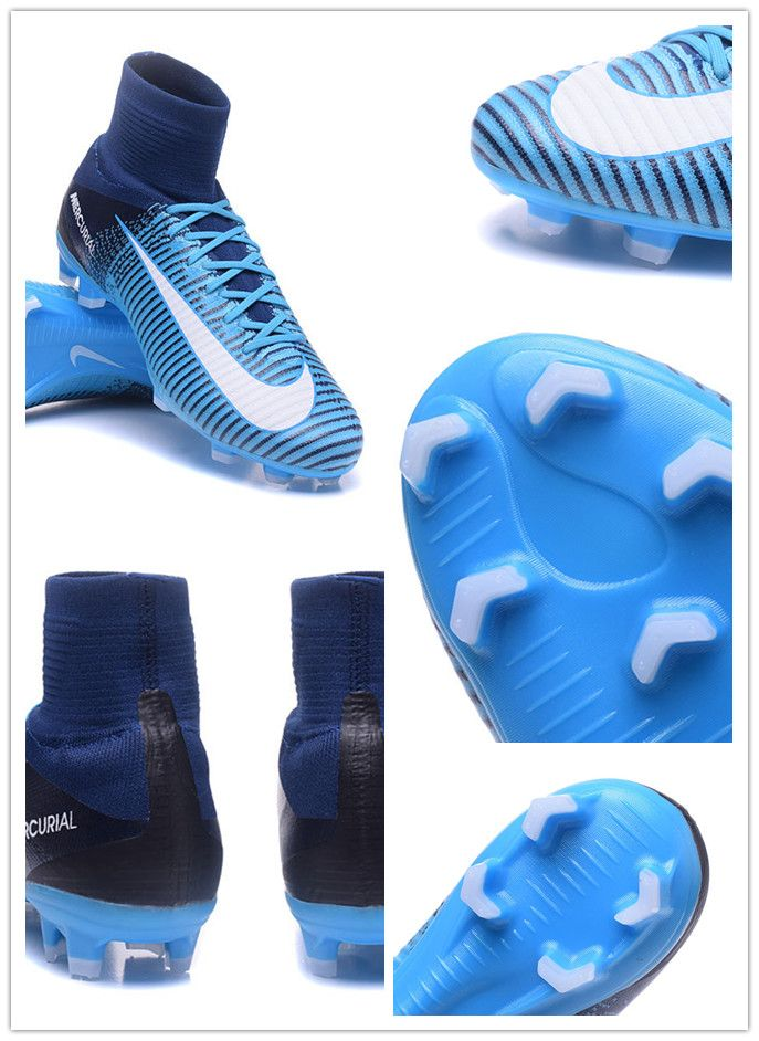 sports shoes 54d71 14cfd To enhance your touch and feel, the blue Mercurial Superfly V features a new  3-D textured Speed Rib construction.