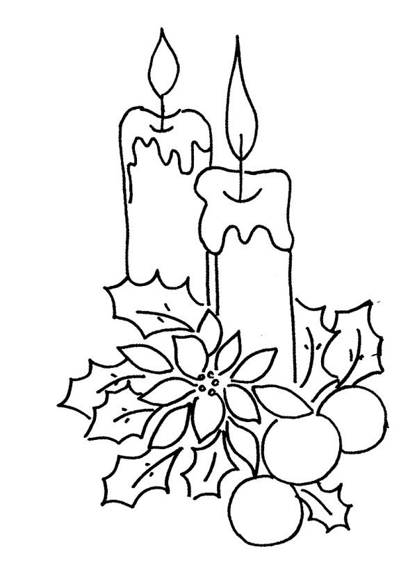 Christmas Tree Candles Coloring Pages Christmas Tree With Candles Coloring Page