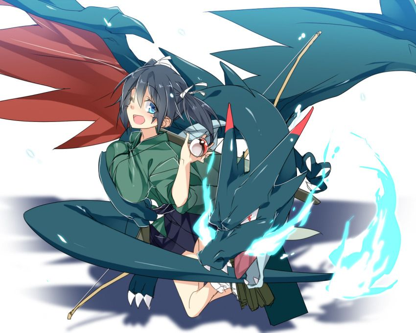 1Girl Blackhair Blueeyes Bowweapon Breasts Charizard -5817