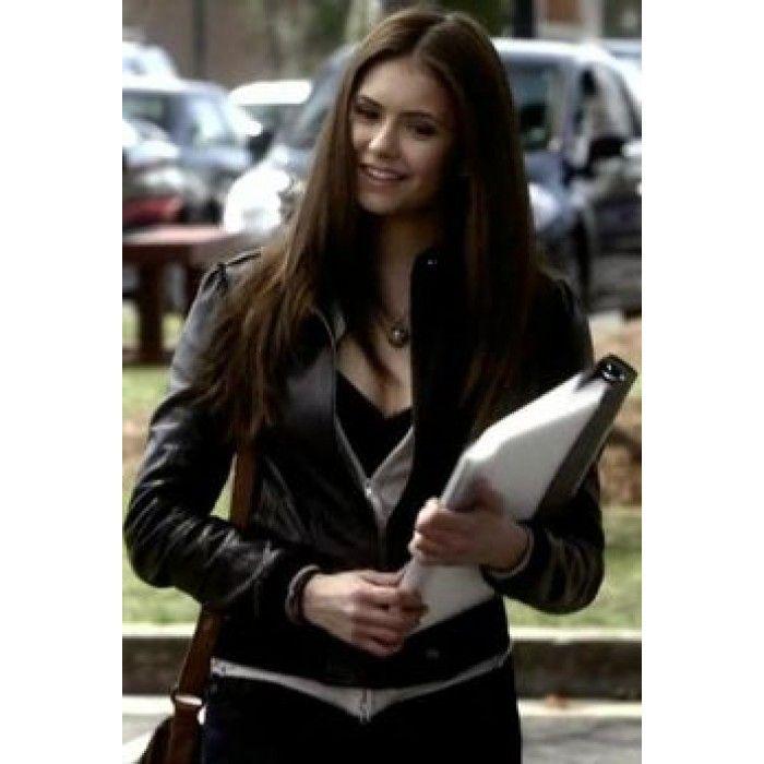 67b9588e4981 Elena Gilbert Vampire Diaries Black Jacket   Women Celeb Jackets in ...