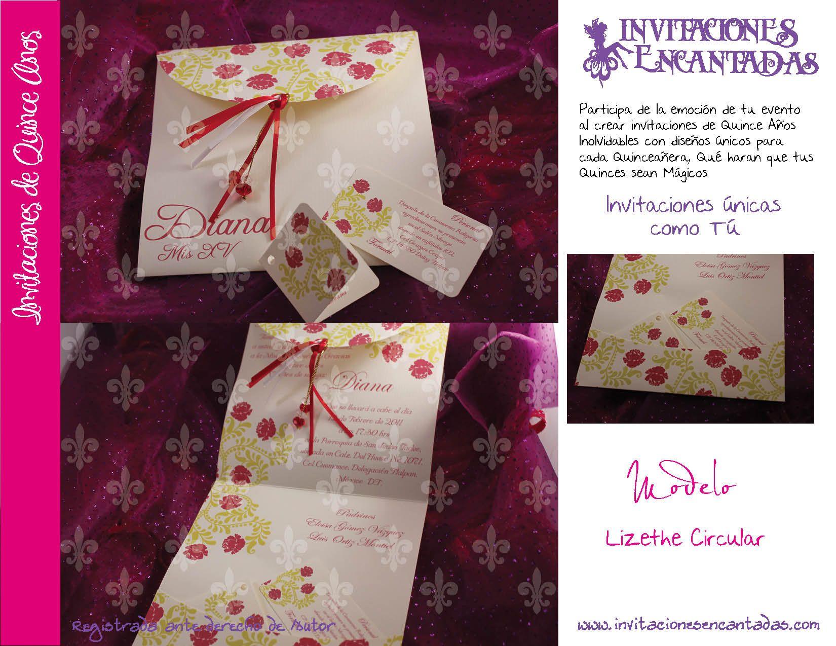 invitacion de xv a u00f1os de triptico con dise u00f1o tipo floral