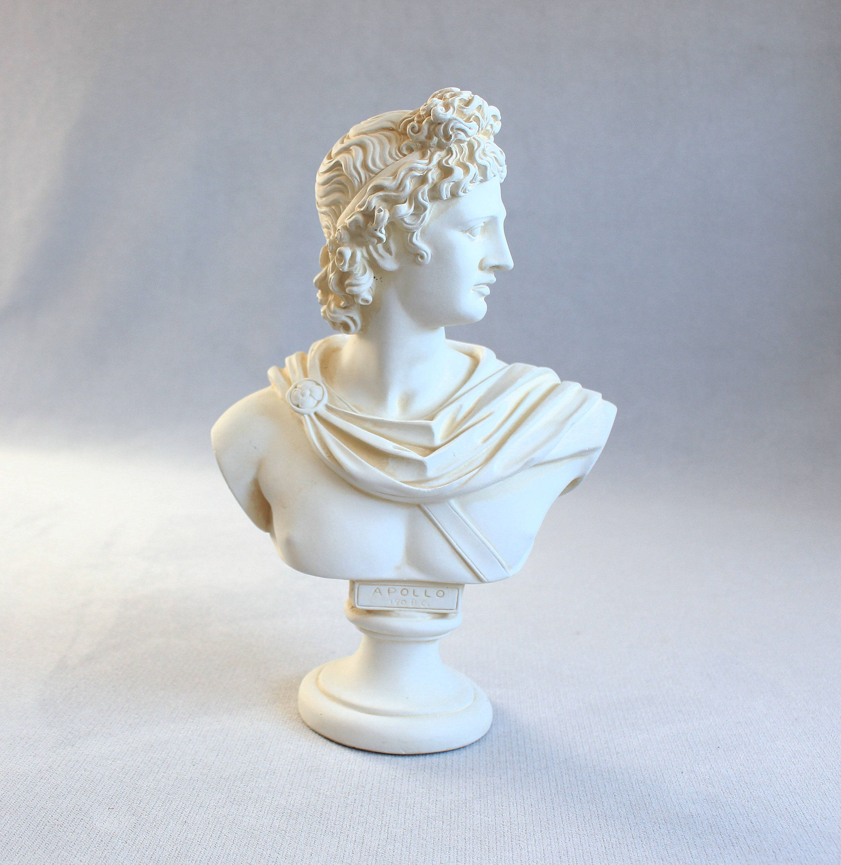 Vintage Apollo Bust Greek Statue Large Figurine Greek God Ceramic Statue White Decor Office Leaving Room Decor Made In Greek Gods Statue Greek Statues