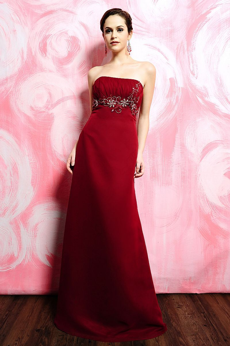 A-Line Straight Neckline Strapless with Beading Work Floor Length ...