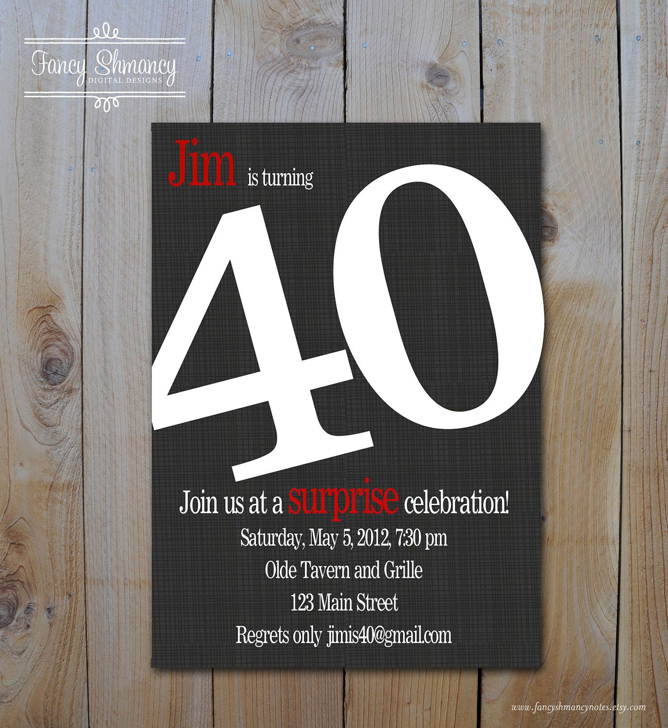 mens 40th birthday invitation bold number black and red forty birthday invitation printable digital file