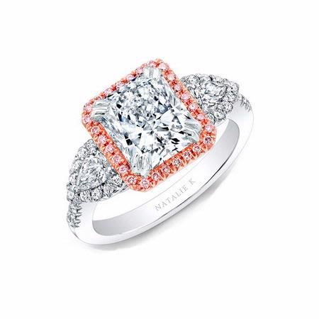 cd30f2ed1 This mesmerizing Natalie K white and rose gold halo three stone engagement  ring setting, features pear shaped and round brilliant cut white diamonds  of G ...