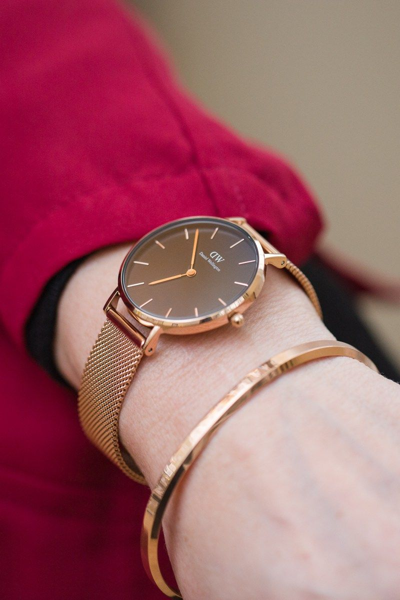 d8aba174f367 Daniel Wellington Classic Petite Melrose 32 mm watch in Black and Rose Gold