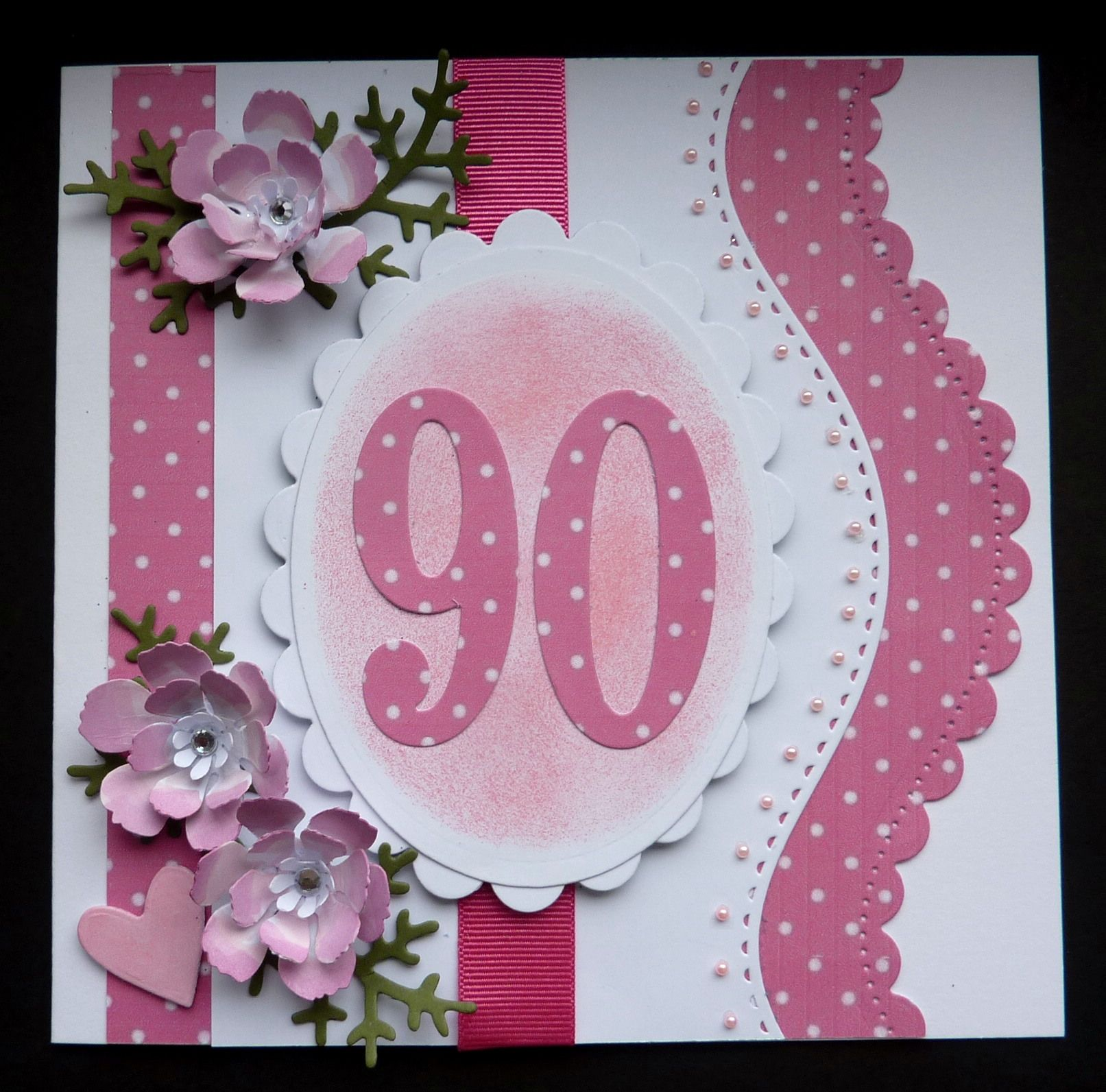 S220 Hand Made 90th Birthday Card Using Spellbinders Curved Border And Su Large Numbers 70th Birthday Card 90th Birthday Cards Birthday Cards