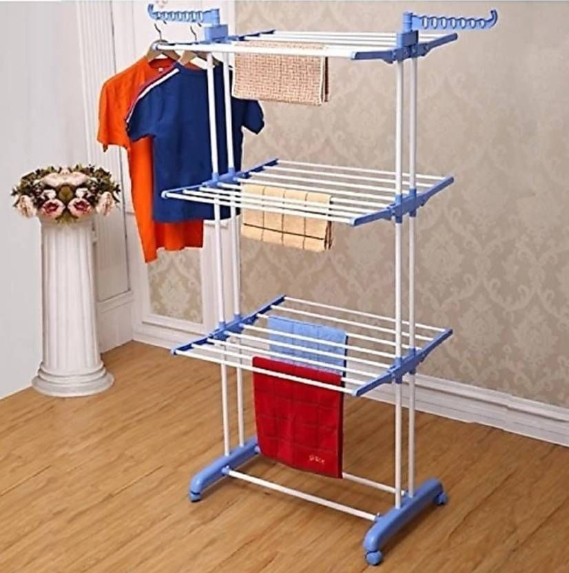 Stainless Steel Clothes Hanger 3 Layers Rack Hanger Cloth Dryer Stand Mydubai Dubaimall Dubaifood Dubai Cloth Drying Stand Folding Hanger Simple Storage