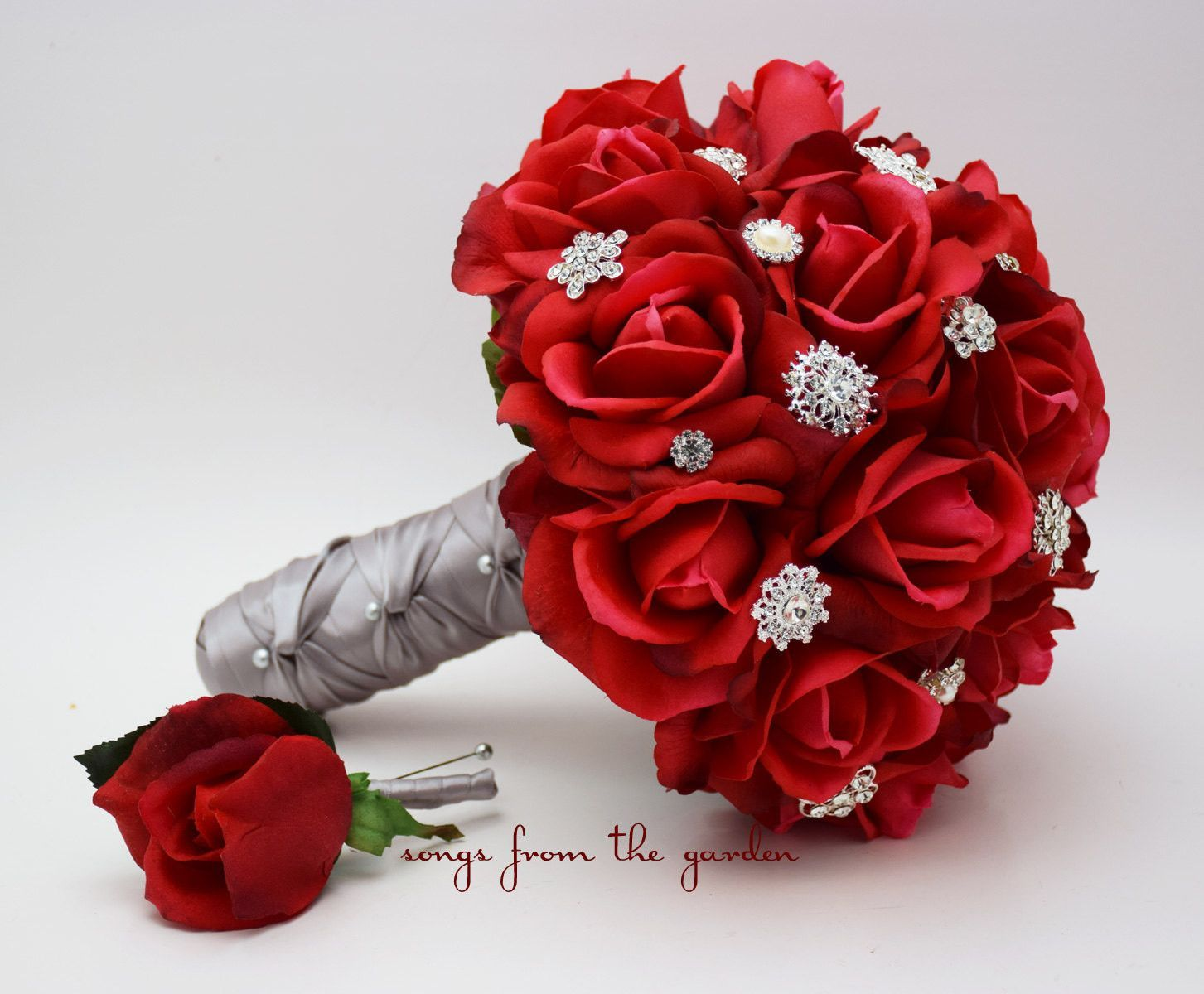 Customize for Your Colors White /& Red Real Touch Roses Bridal Bouquet Groom/'s Boutonniere White Satin Ribbon and Pearl Rhinestone Brooch