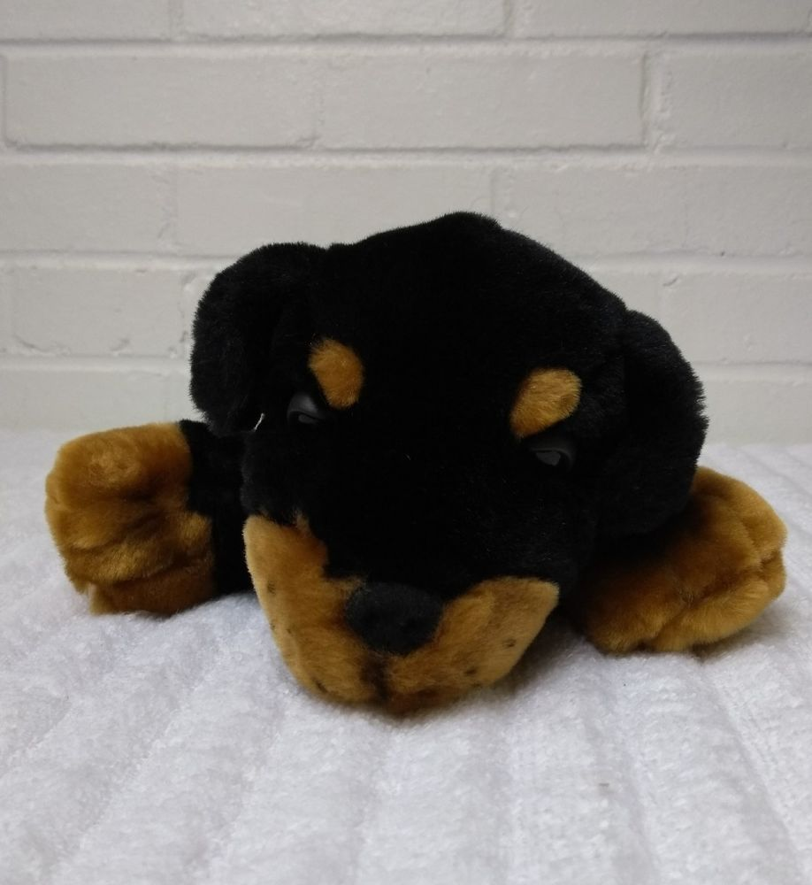 1999 Snuggie Toy Rottweiler Puppy Dog Stuffed Animal Plush Black