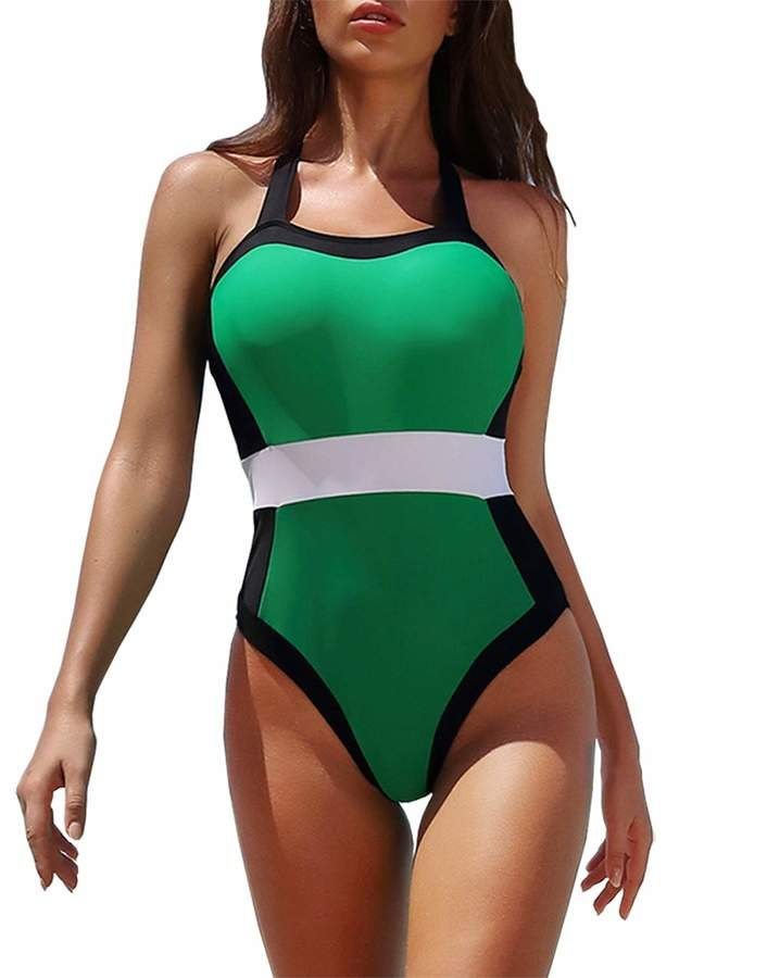 Fashion Women Dot Patchwork V Neck One Piece Bikini Swimwear Swimsuit Beachwear