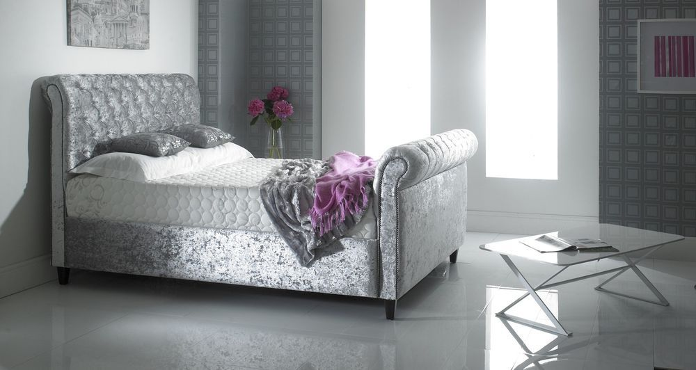 Details About 5ft Crush Velvet Bed Frame King Size Crushed