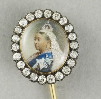 Tie pin with a miniature of Queen Victoria (1819-1901)