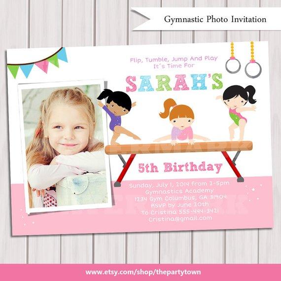 Gymnastic Birthday Party Photo Invitation Printable GYMNASTIC Invite Gymnast