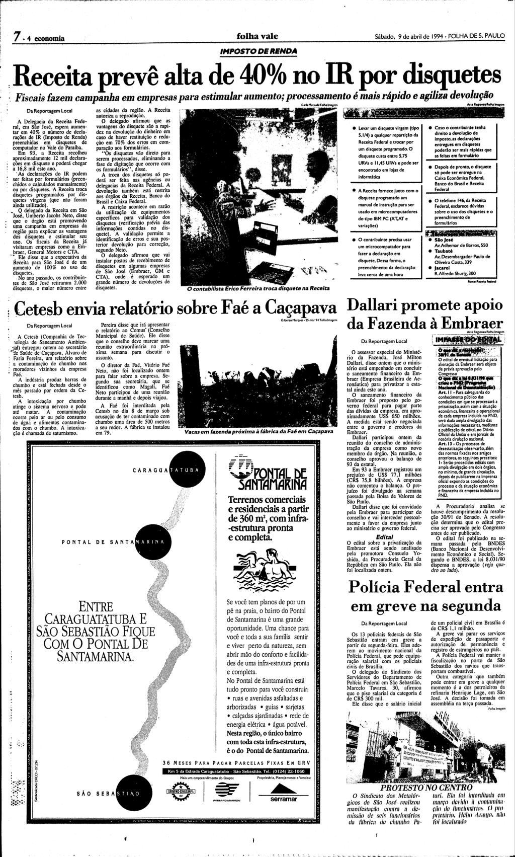 Folha de S.Paulo - Edição de 09/04/1994