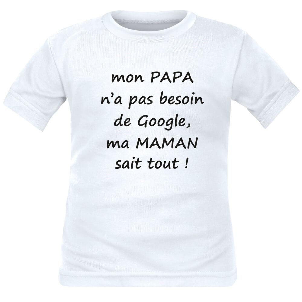 b8b09529ae068 T-shirt enfant avec message   mon PAPA n a pas besoin de GOOGLE ...