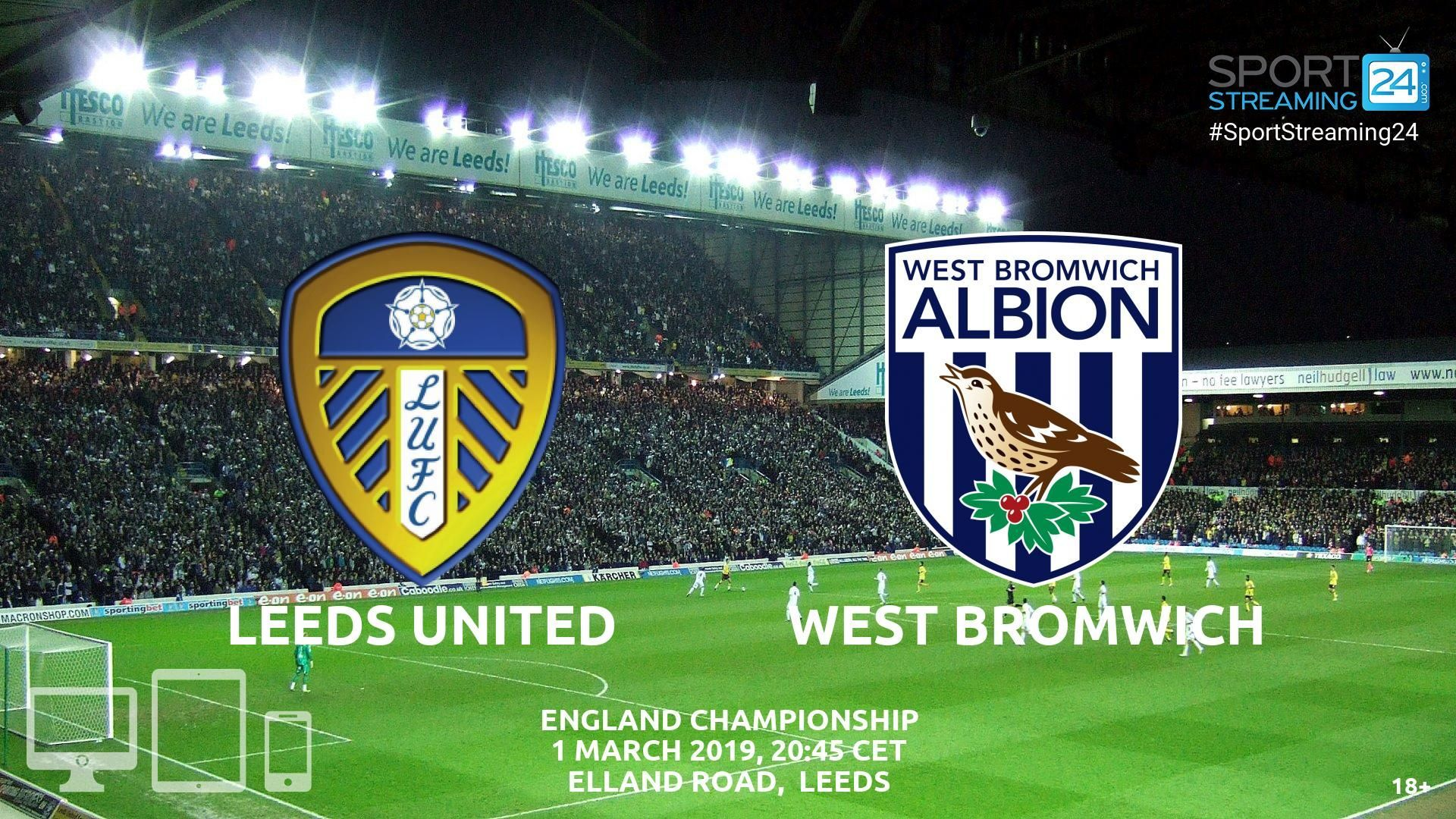 West Brom v Leeds Live Streaming Football West bromwich
