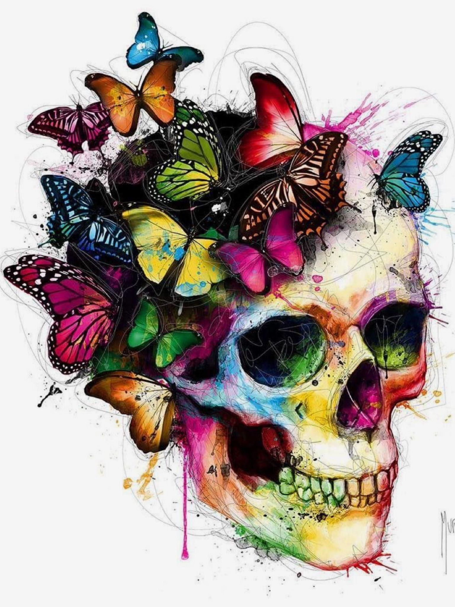 But with flowers instead of butterflies skull painting