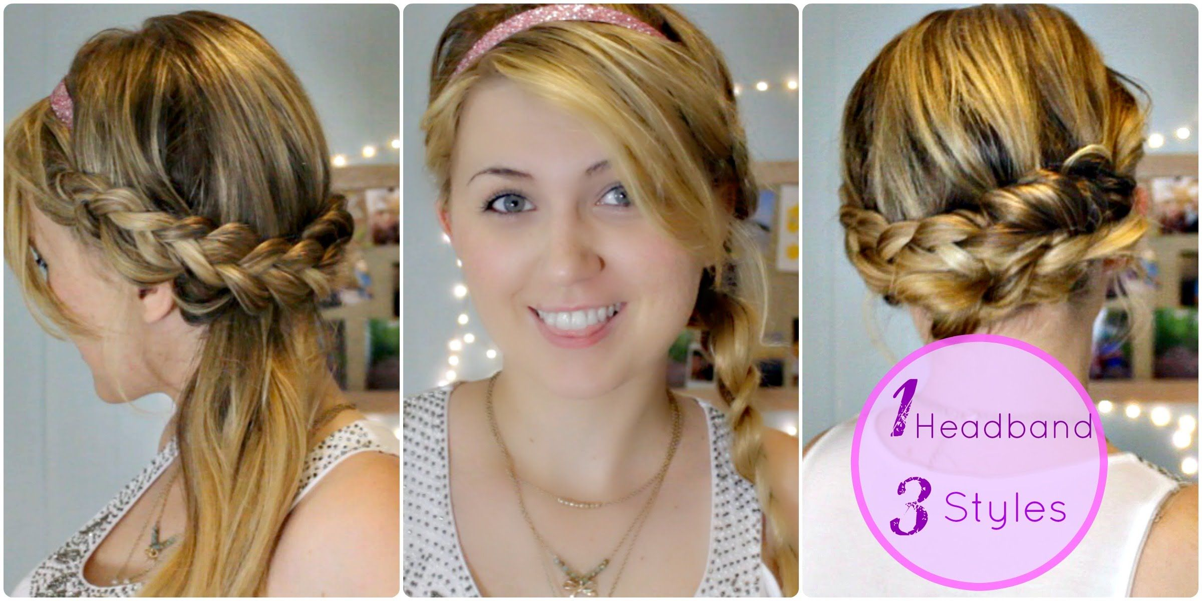 three easy heatless braided hairstyles with headbands for