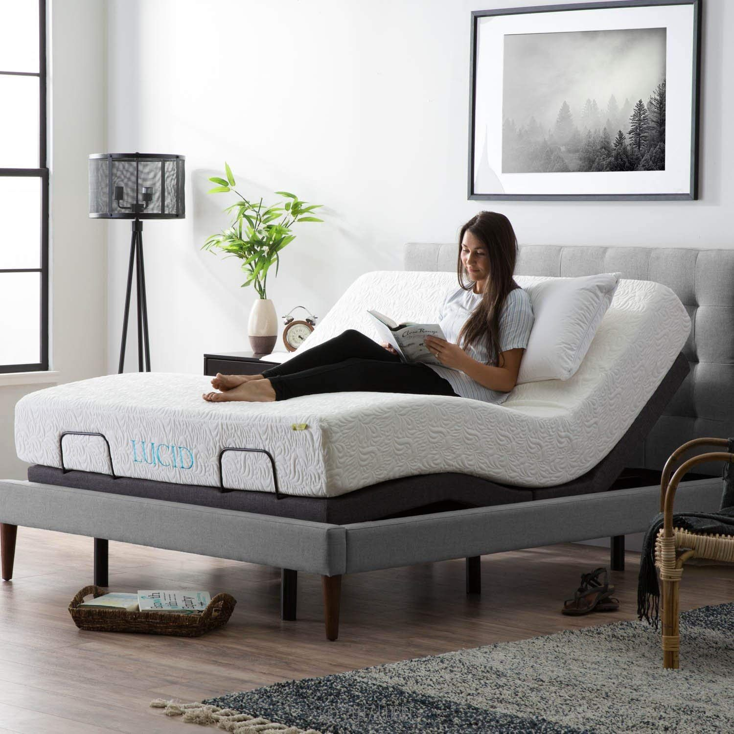 Lucid L300 Bed Base 5 Minute Assembly Adjustable Queen Charcoal Https Amzn To 2ql6njl In 2020 Adjustable Bed Base Adjustable Bed Frame Adjustable Beds