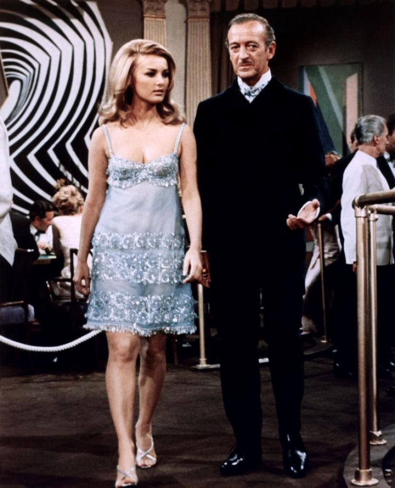 "Barbara Bouchet and David Niven in ""Casino Royale"" (1967)"