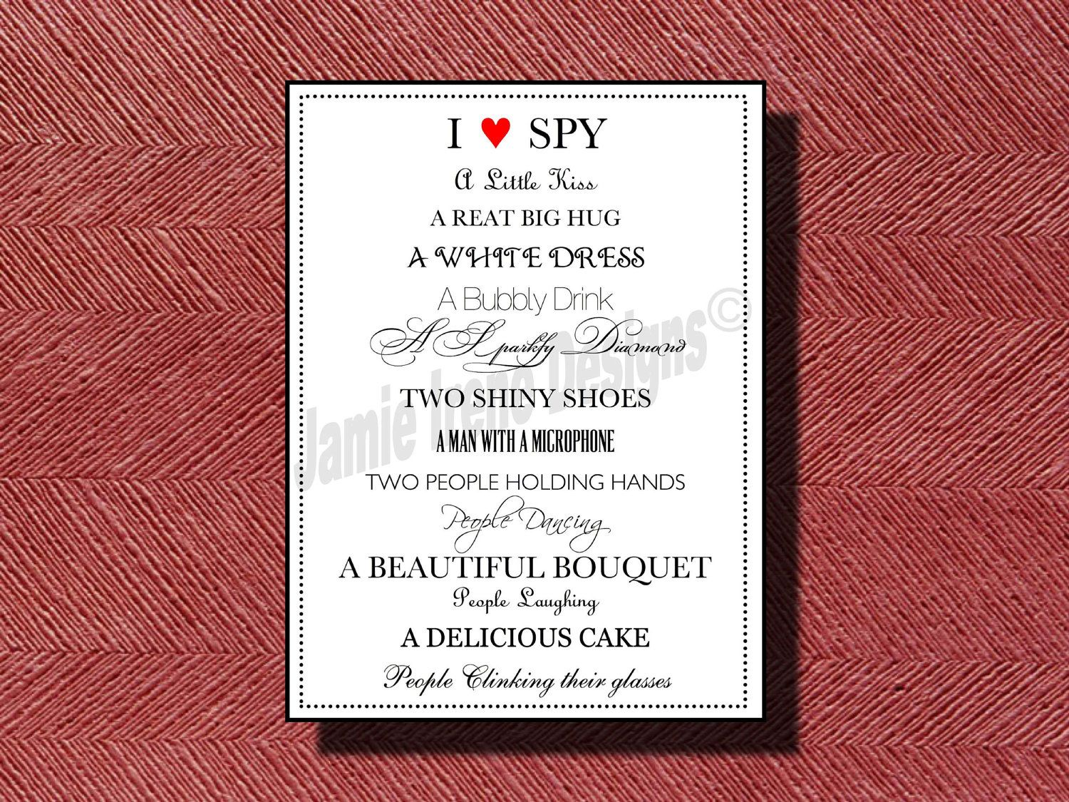 Wedding Reception Photo Hunt I Spy Game DIY Print Ready. $10.00, via ...