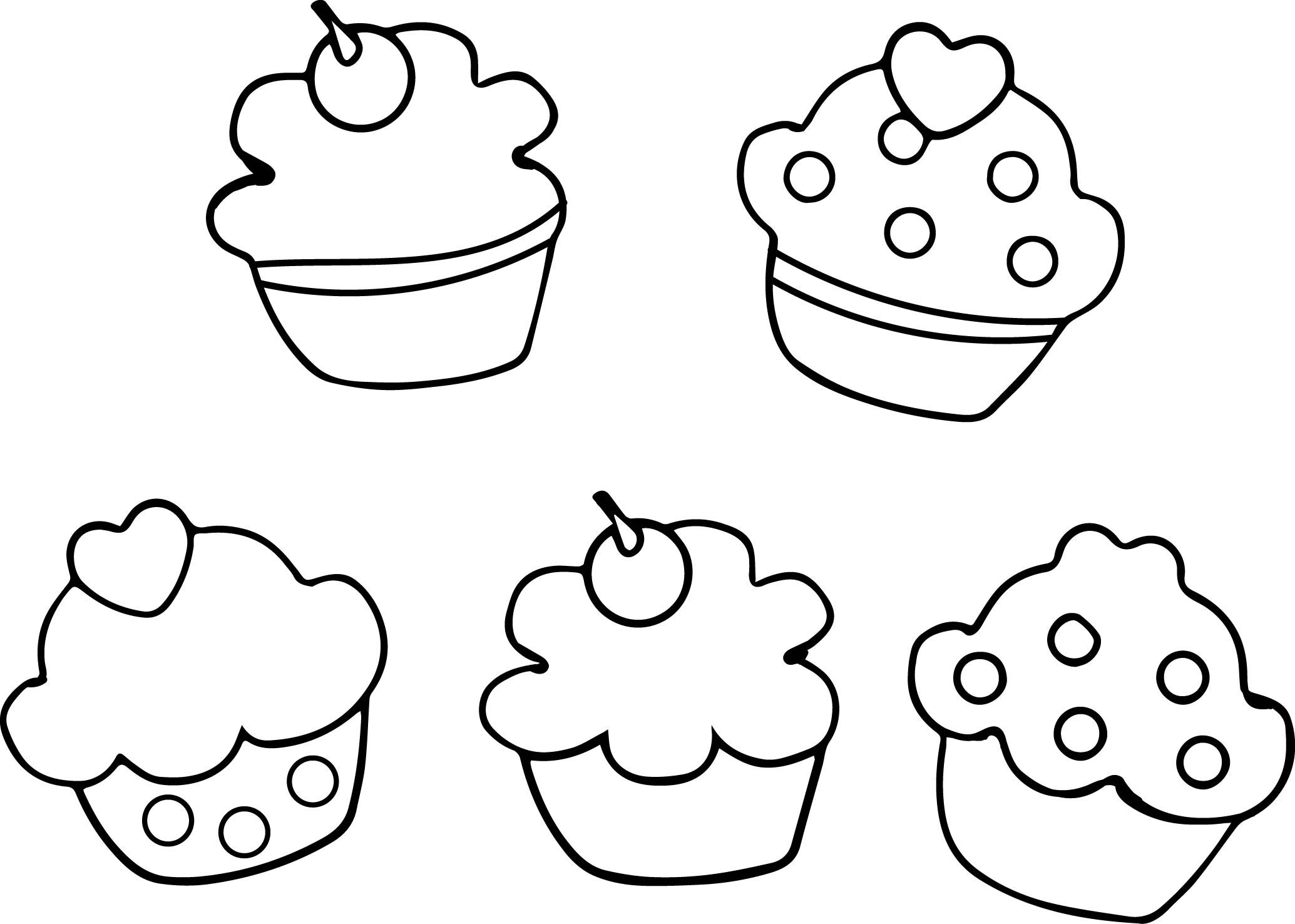 cupcakes_printable outline black white coloring page wecoloringpage - Outline Pictures For Coloring