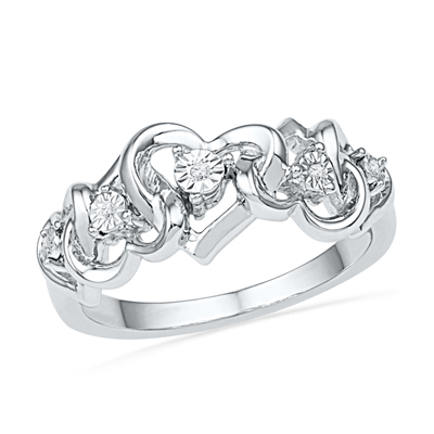 Zales Diamond Accent Curlique Heart Ring in Sterling Silver VE3hwz