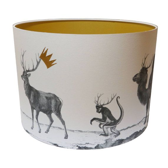 A striking stag night lampshade illustrating the head stag with his band of seven brothers all antlered up and ready to go, with the head of the