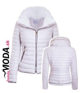 Biela krátka dámska zimná bunda - trendymoda.sk  ba985e0daa3